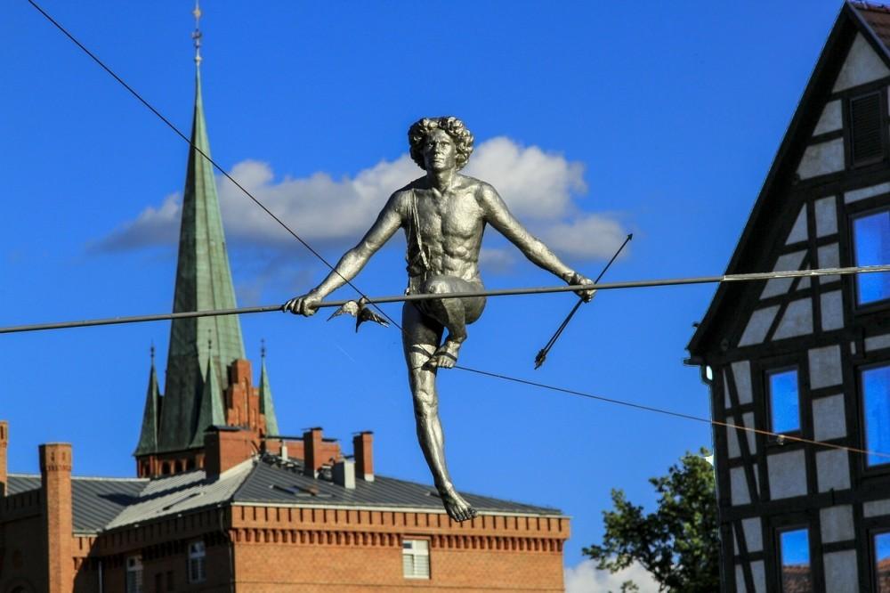 Bydgoszcz Man crossing river